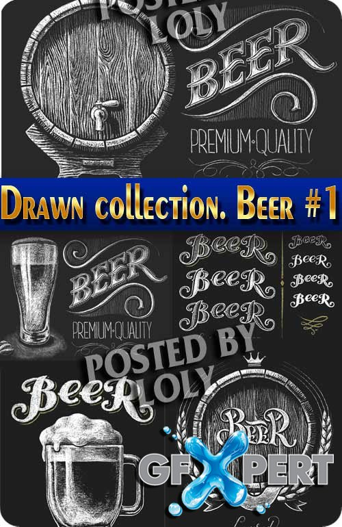 Hand drawn collection. Beer #1 - Stock Vector