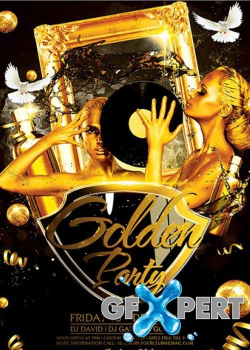 Golden Party Premium Flyer Template + Facebook Cover