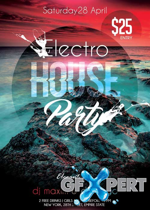 Electro House Party V02 Flyer PSD Template + Facebook Cover