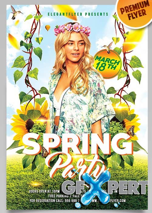 Free Spring Party Flyer Psd Template  Facebook Cover Download