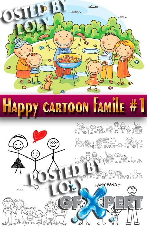 Happy cartoon family #1 - Stock Vector