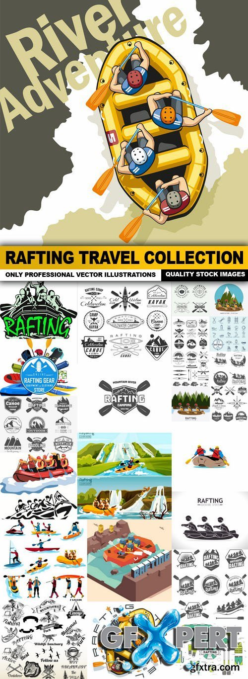 Rafting Travel Collection - 25 Vector