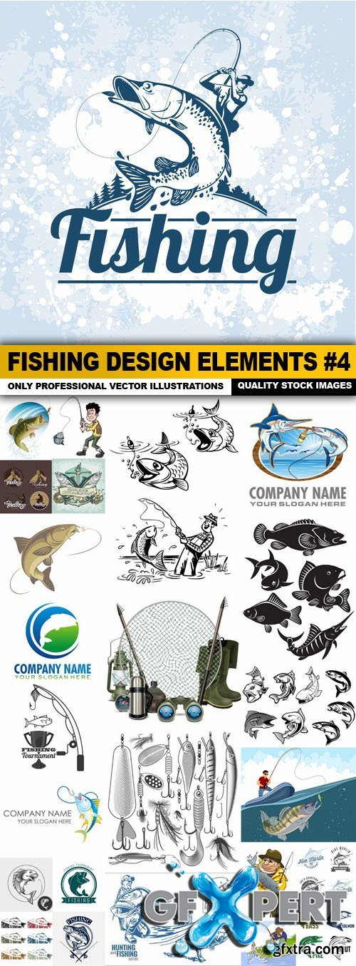 Fishing Design Elements #4 - 26 Vector