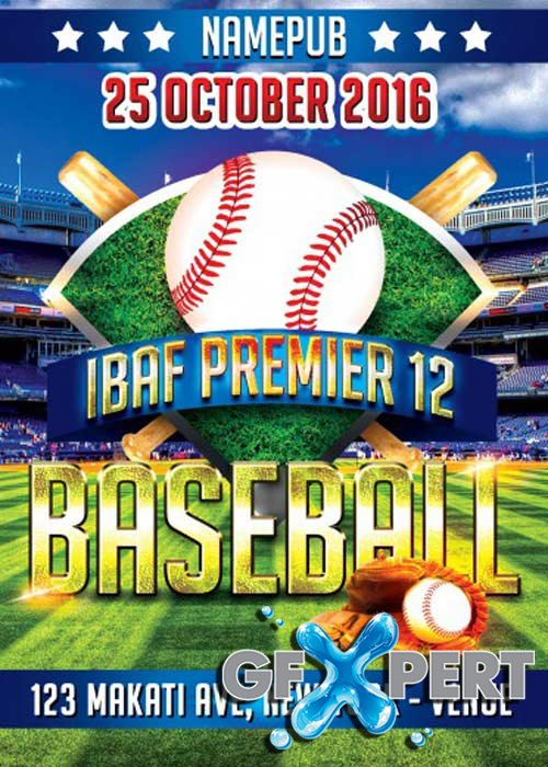 Baseball IBAF Premier V12 Flyer PSD Template + Facebook Cover