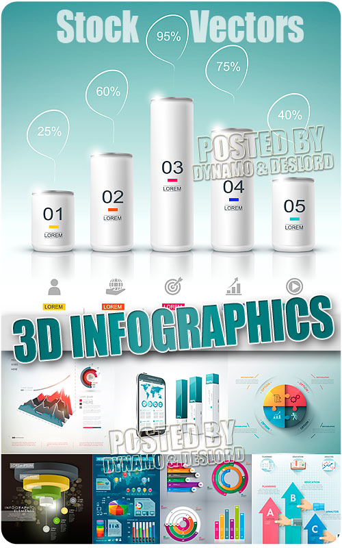 3D infographics 8 - Stock Vectors