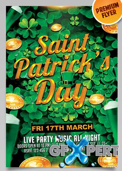 Saint Patricks Day V5 Flyer PSD Template + Facebook Cover
