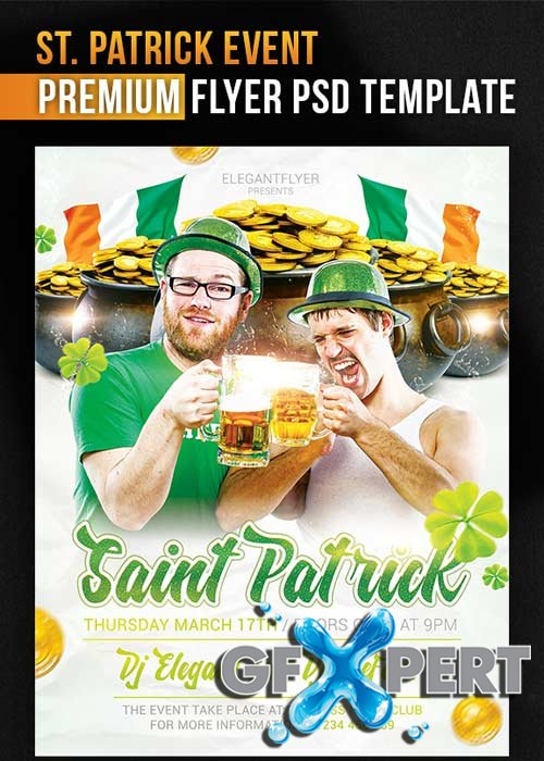 Saint Patricks Day V7  Flyer PSD Template + Facebook Cover