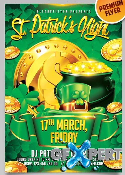 Saint Patricks Day V4 Flyer PSD Template + Facebook Cover