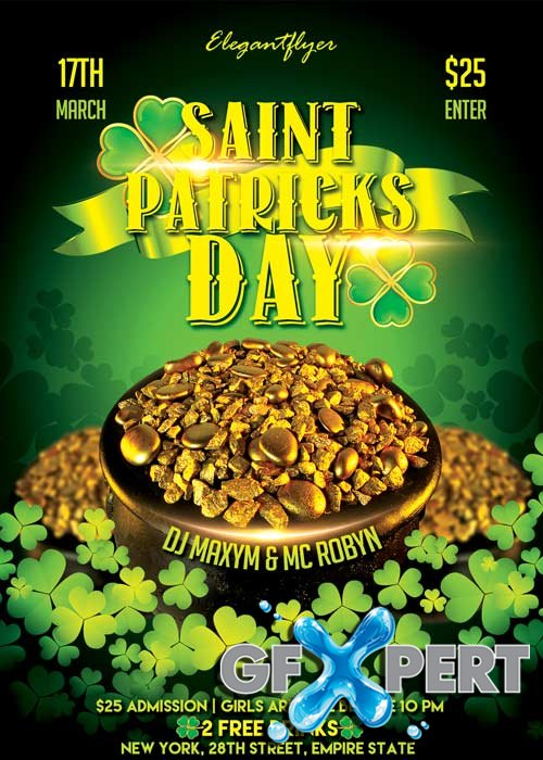 Saint Patricks Day V3  Flyer PSD Template + Facebook Cover