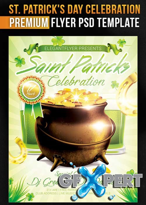 Saint Patricks Day V6  Flyer PSD Template + Facebook Cover