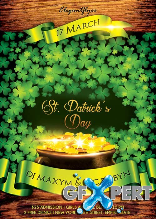 Saint Patricks Day V2  Flyer PSD Template + Facebook Cover