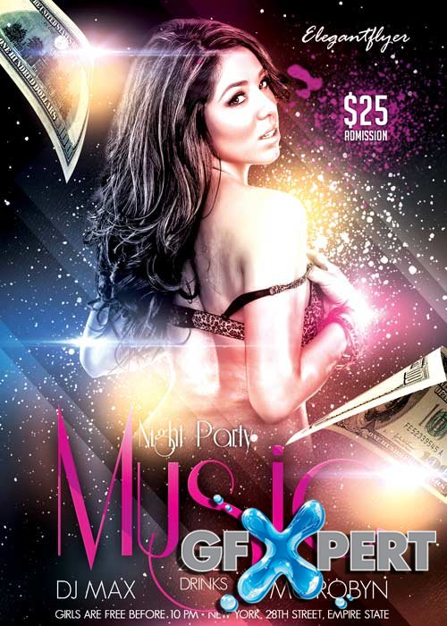 Music Night Party Flyer PSD Template + Facebook Cover