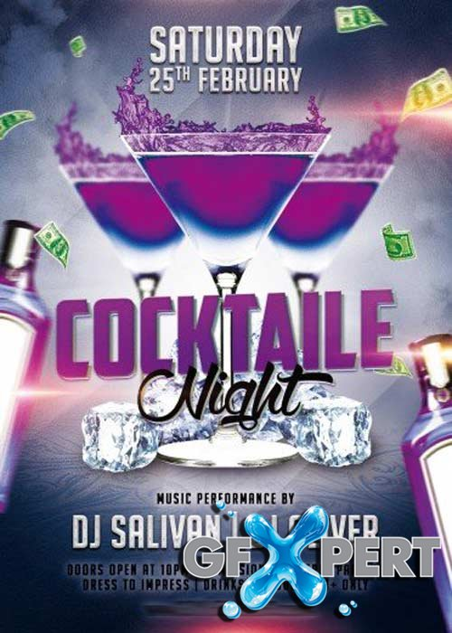 Cocktaile Night Flyer PSD Template + Facebook Cover