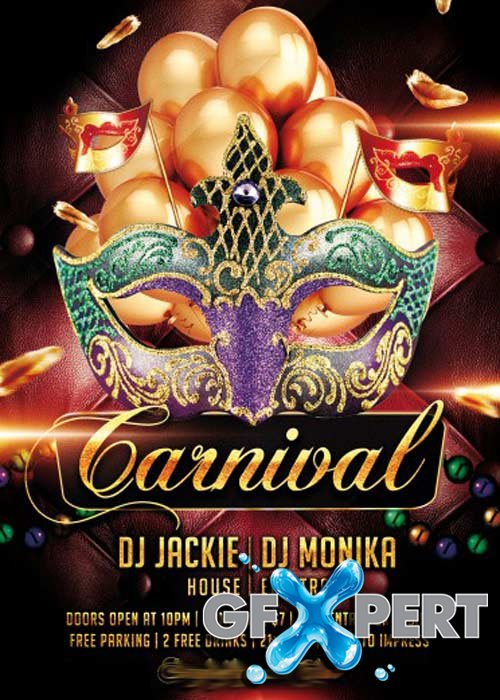 Carnival PSD Flyer V1 Template with Facebook Cover