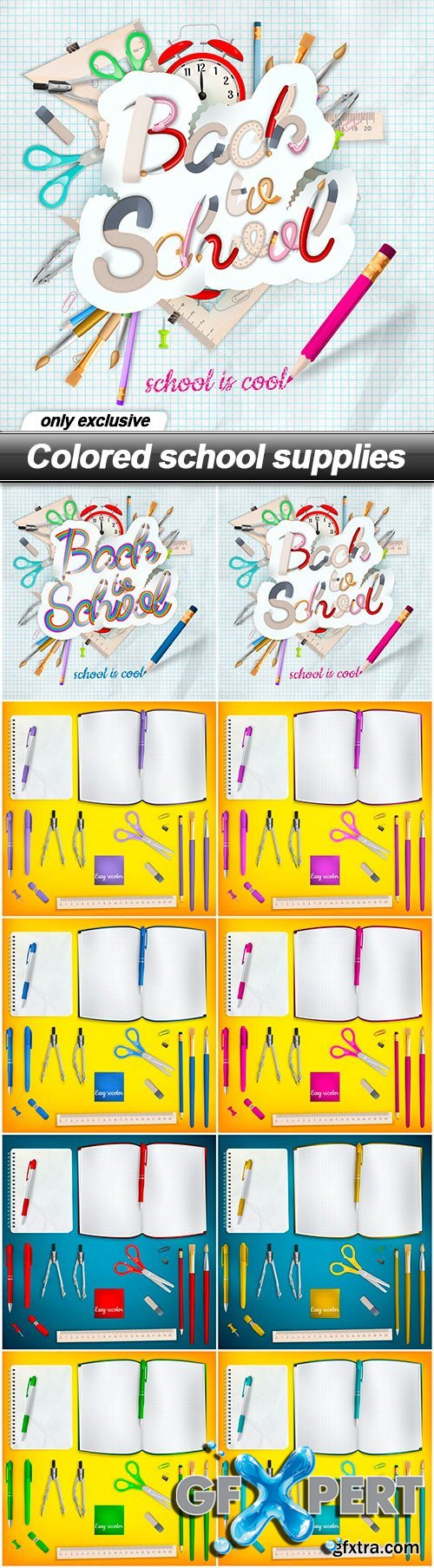 Colored school supplies - 10 EPS