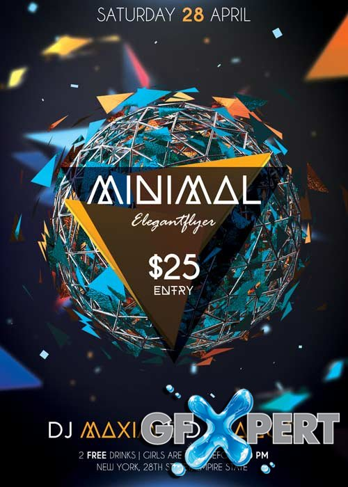 Minimal Party Flyer PSD Template + Facebook Cover