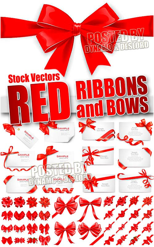 Red ribbons and bows - Stock Vectors