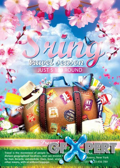 Sring Travel Season PSD Flyer Template with Facebook Cover
