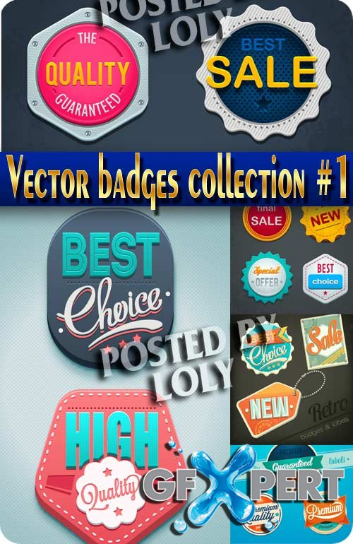Vector badges collection #1 - Stock Vector