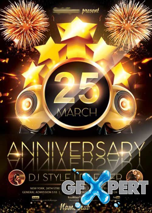 Free anniversary party v2 flyer psd template facebook cover download pronofoot35fo Choice Image