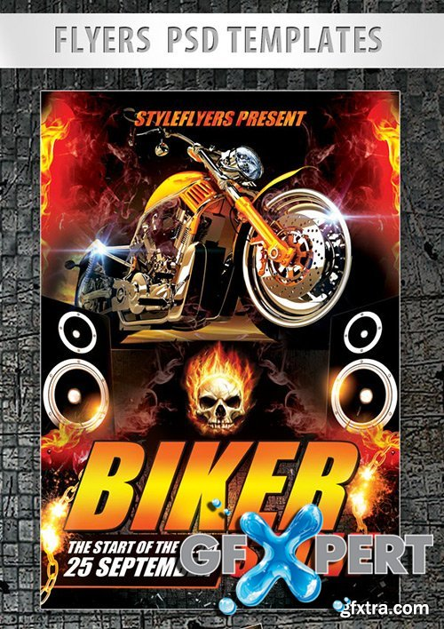 Biker Show Flyer PSD Template + Facebook Cover