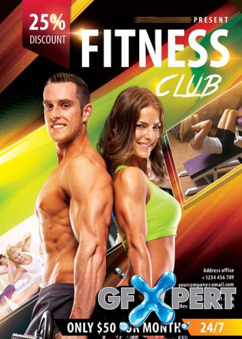 Fitness Club Flyer PSD Template + Facebook Cover