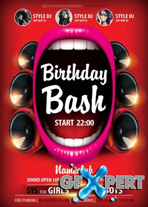 Birthday Bash V5 Flyer PSD Template + Facebook Cover