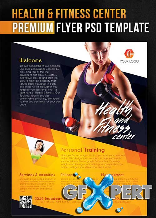 free health and fitness center flyer psd template facebook cover download. Black Bedroom Furniture Sets. Home Design Ideas