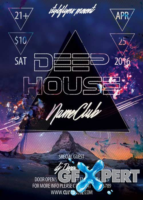 Free Deep House Party Flyer Psd Template Facebook Cover Download