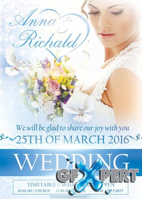 Wedding PSD Flyer V5 Template + Facebook Cover