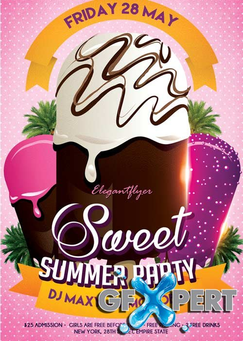 Sweet Summer Party Flyer V1 PSD Template + Facebook Cover