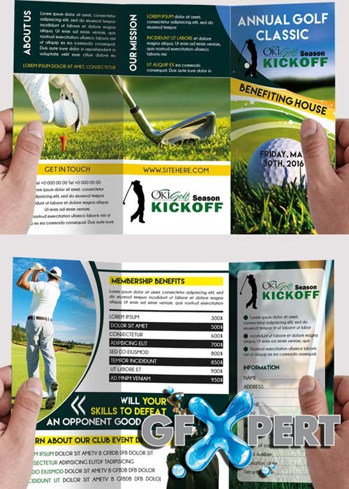 free golf tournament premium tri fold psd brochure template download. Black Bedroom Furniture Sets. Home Design Ideas