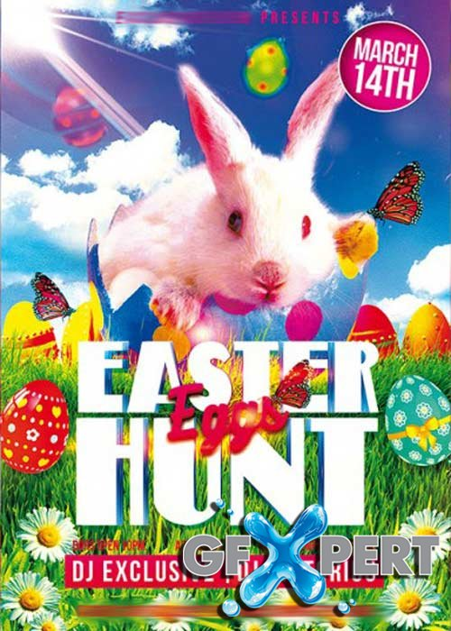 Easter Eggs Hunt Flyer PSD Template + Facebook Cover