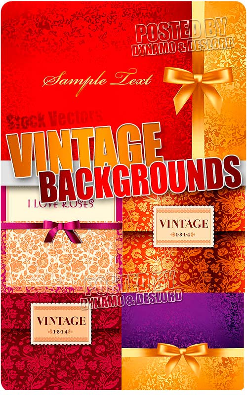 Vintage backgrounds with bows - Stock Vectors