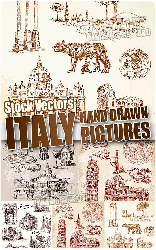 Italy hand drawn - Stock Vectors