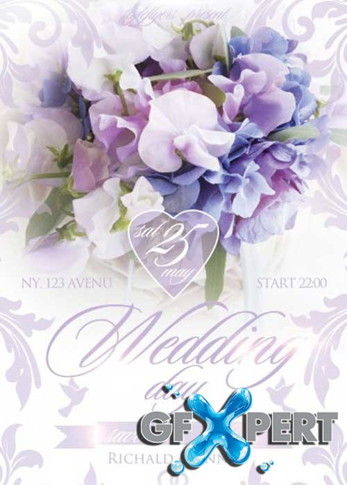 Wedding Day. Save the Date Flyer PSD Template + Facebook Cover