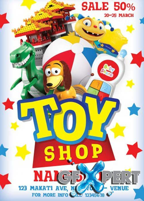 Toy Shop Flyer PSD Template + Facebook Cover