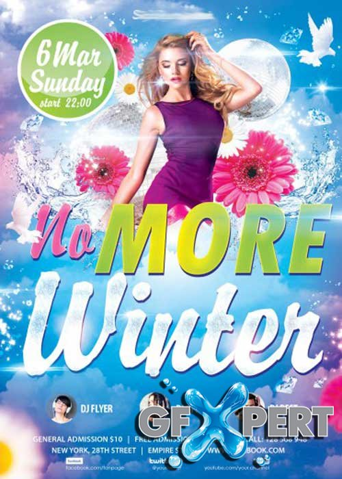 No More Winter party PSD Flyer Template with Facebook Cover