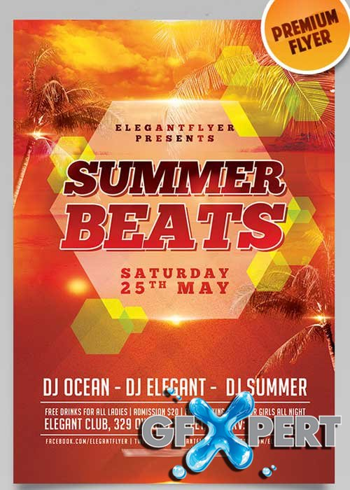 Summer Beats Flyer PSD Template + Facebook Cover