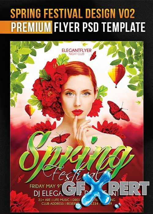 Spring Festival Design V02 Flyer PSD Template + Facebook Cover
