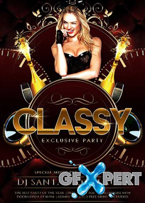 Classy Exclusive Party V1 Premium Flyer Template + Facebook Cover