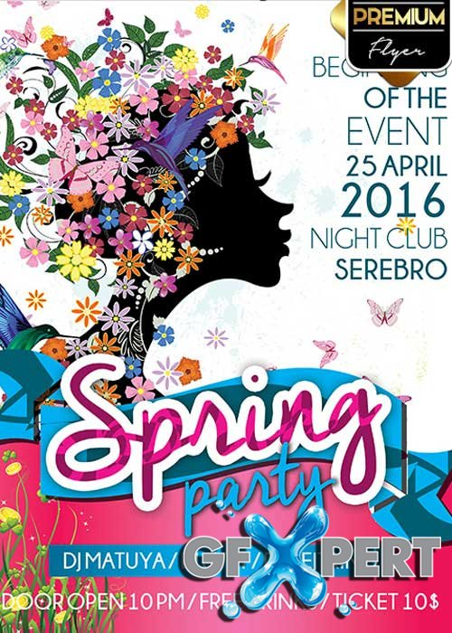 Spring Party V10 Flyer PSD Template + Facebook Cover