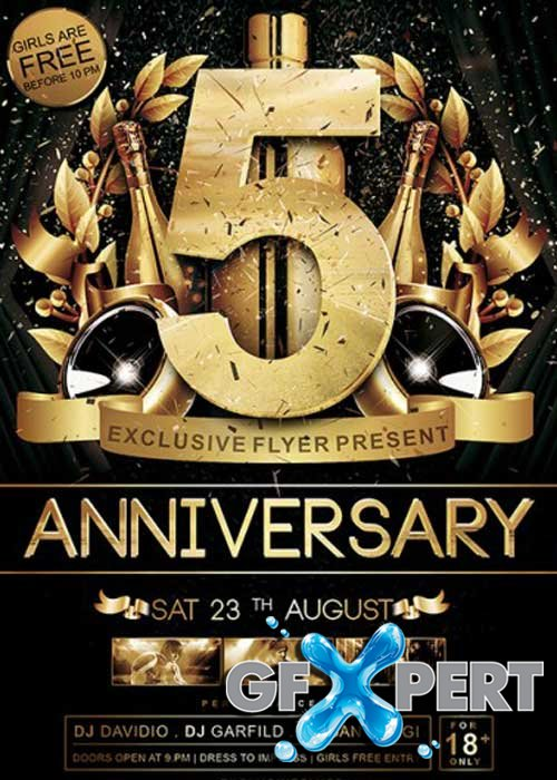 Free Anniversary V05 Premium Flyer Template + Facebook Cover Download