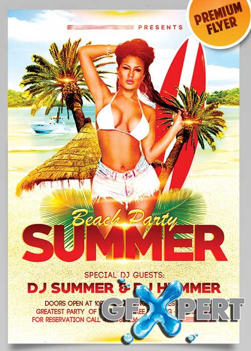 Summer Beach Party V6 Flyer PSD Template + Facebook Cover