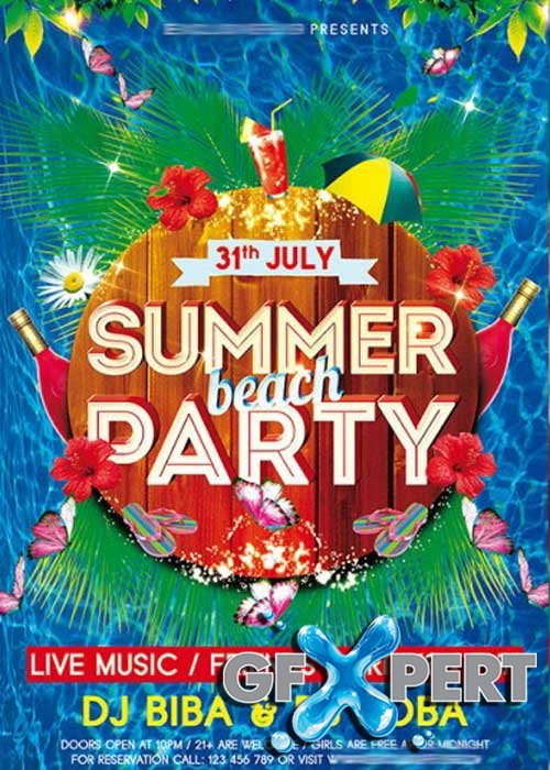 Summer V3 Beach Party Premium Flyer Template + Facebook Cover