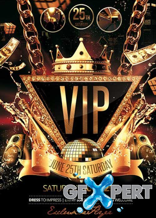 VIP Party Premium Flyer Template + Facebook Cover