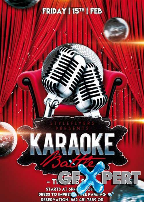 Karaoke Battle Party PSD Flyer Template with Facebook Cover