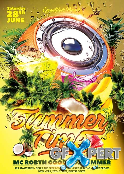 Summer Time V02 Flyer PSD Template + Facebook Cover