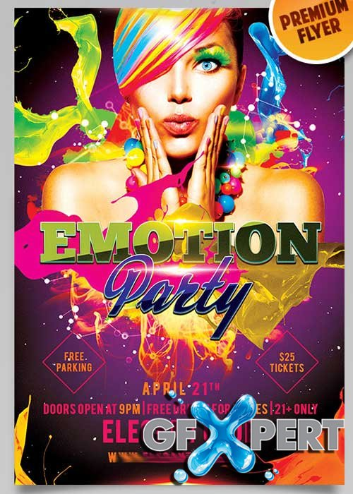 Emotion Party Flyer PSD Template + Facebook Cover