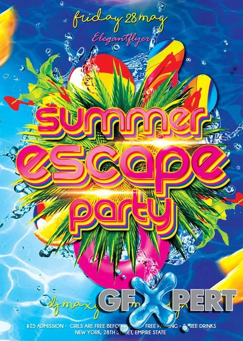 Summer Escape Party V1 Flyer PSD Template + Facebook Cover